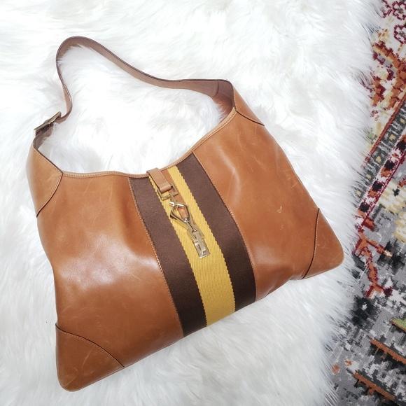 3faac013116f Gucci Bags | Authentic Jackie Tab Leather Hobo Web Yellow | Poshmark